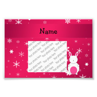 Personalized name bunny pink snowflakes art photo