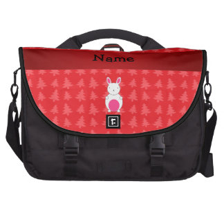 Personalized name bunny red christmas trees laptop messenger bag