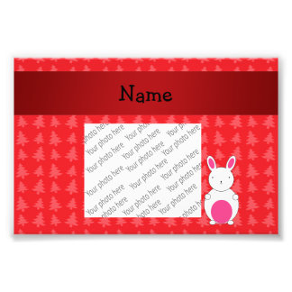 Personalized name bunny red christmas trees photograph