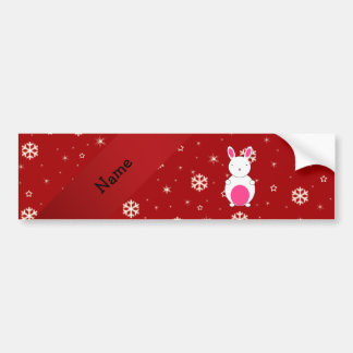 Personalized name bunny red snowflakes car bumper sticker