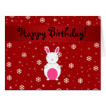 Personalized name bunny red snowflakes large greeting card