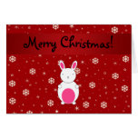 Personalized name bunny red snowflakes greeting card