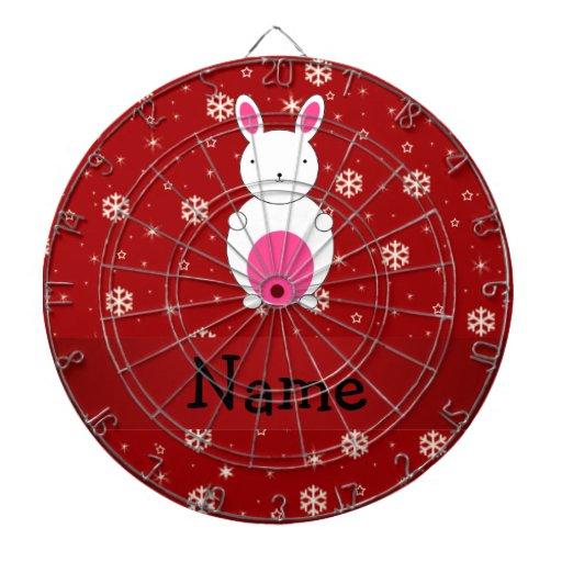 Personalized name bunny red snowflakes dart boards