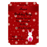 Personalized name bunny red snowflakes 5x7 paper invitation card