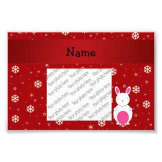 Personalized name bunny red snowflakes photograph