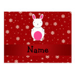 Personalized name bunny red snowflakes postcard