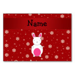 Personalized name bunny red snowflakes table cards
