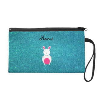 Personalized name bunny turquoise glitter wristlets