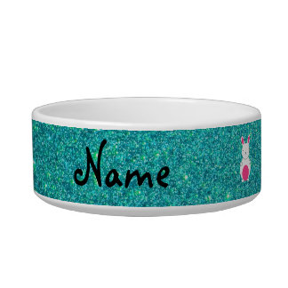 Personalized name bunny turquoise glitter bowl