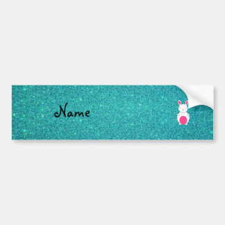 Personalized name bunny turquoise glitter car bumper sticker