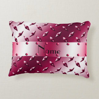 Personalized name burgundy diamond steel plate accent pillow