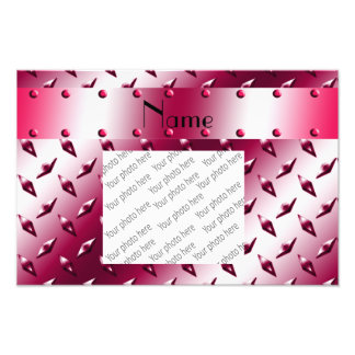 Personalized name burgundy diamond steel plate photo print