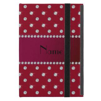 Personalized name burgundy diamonds cases for iPad mini