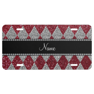 Personalized name burgundy glitter argyle license plate