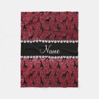 Personalized name burgundy glitter giraffes fleece blanket