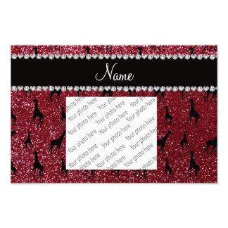 Personalized name burgundy glitter giraffes photo