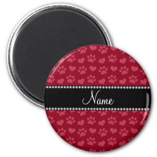 Personalized name burgundy red hearts and paw prin 2 inch round magnet