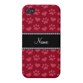 Personalized name burgundy red hearts and paw prin iPhone 4 cover