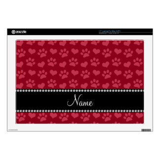 """Personalized name burgundy red hearts and paw prin 17"""" laptop decal"""