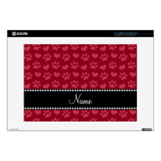 """Personalized name burgundy red hearts and paws skin for 13"""" laptop"""