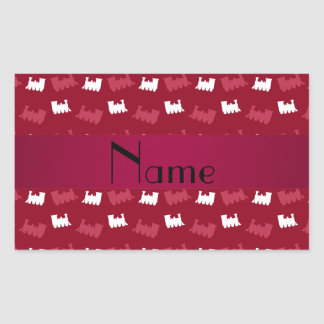 Personalized name burgundy red train pattern stickers