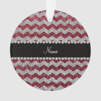 Personalized name burgundy silver glitter chevrons