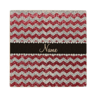 Personalized name burgundy silver glitter chevrons wood coaster