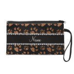 Personalized name burnt gold glitter cat paws wristlet purse