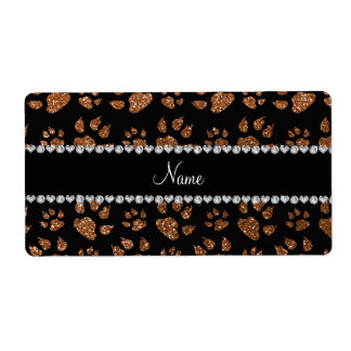 Personalized name burnt gold glitter cat paws label