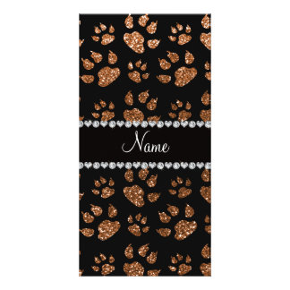 Personalized name burnt gold glitter cat paws personalized photo card