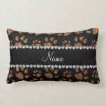 Personalized name burnt gold glitter cat paws throw pillows