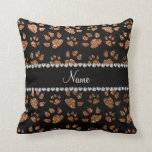 Personalized name burnt gold glitter cat paws pillow
