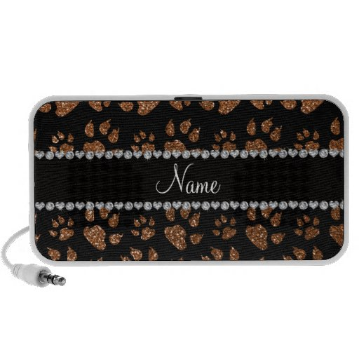 Personalized name burnt gold glitter cat paws travelling speakers