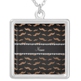 Personalized name burnt gold glitter mustaches necklace