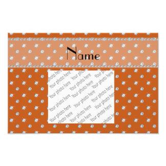 Personalized name burnt orange diamonds photo print