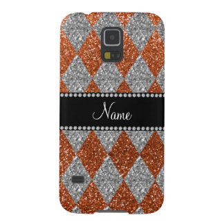 Personalized name burnt orange glitter argyle galaxy s5 cover