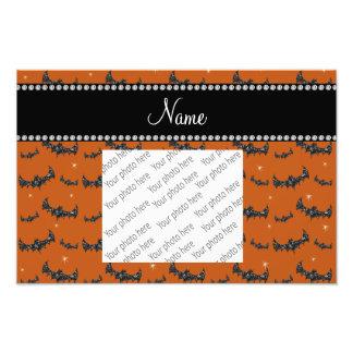 Personalized name burnt orange glitter bats photo print