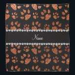 """Personalized name burnt orange glitter cat paws bandana<br><div class=""""desc"""">Modern and trendy animal cat paws print burnt orange glitter (faux not real glitter) pattern and black diamonds (not real diamonds) with hearts and dots stripe personalized with your name gifts or monogram gifts or your initials. Girly glitter gift ideas for pet lovers and owners of cats. If you hit...</div>"""