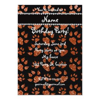 Personalized name burnt orange glitter cat paws 5x7 paper invitation card