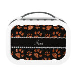 Personalized name burnt orange glitter cat paws lunchbox
