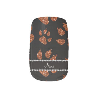 Personalized name burnt orange glitter cat paws minx nail art