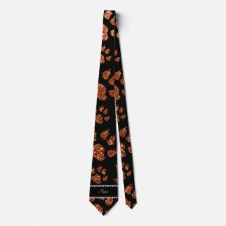 Personalized name burnt orange glitter cat paws neck tie