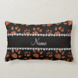 Personalized name burnt orange glitter cat paws throw pillow