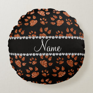 Personalized name burnt orange glitter cat paws round pillow