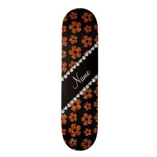 Personalized name burnt orange glitter flowers skateboard deck
