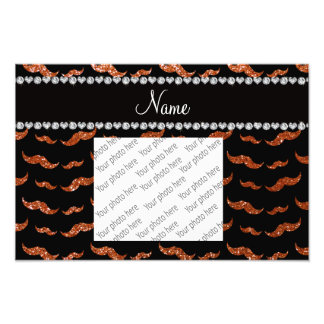 Personalized name burnt orange glitter mustaches photo print