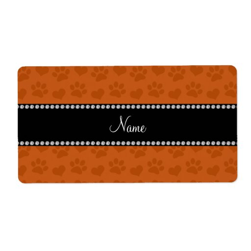 Personalized name burnt orange hearts and paw prin shipping labels