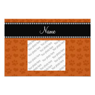 Personalized name burnt orange hearts and paw prin photo print
