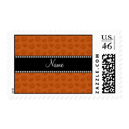 Personalized name burnt orange hearts and paw prin stamps