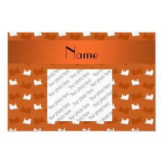 Personalized name burnt orange train pattern photo print